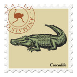 Stamp with crocodile Royalty Free Stock Photo