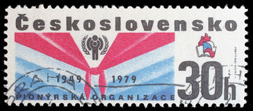 Stamp from Czechoslovakia shows image commemorating the 30th anniversary of the Pioneer movement for children in Czechoslovakia. Circa 1979 stock image