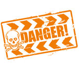 Stamp danger with a skull Royalty Free Stock Photo