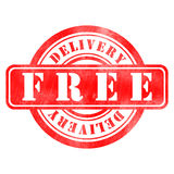 Stamp of Delivery free. Red, round Stock Photos