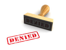 Stamp Denied. Rubber stamp with Denied sign on white background. Computer generated image Royalty Free Stock Images