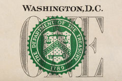 Stamp of the Department of The Treasury on US one dollar bill closeup macro Stock Photo