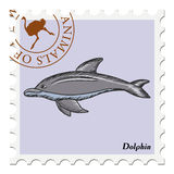 Stamp with dolphin Royalty Free Stock Photo
