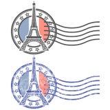 Stamp with Eiffel Tower - landmark of Paris Royalty Free Stock Image