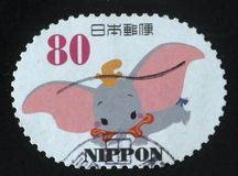 Stamp elephant Dumbo. RUSSIA KALININGRAD, 22 APRIL 2016: stamp printed by Japan, shows elephant Dumbo, circa 2011 royalty free stock photography
