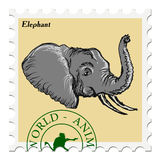Stamp with elephant Royalty Free Stock Images