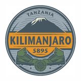 Stamp or emblem with text Kilimanjaro, Tanzania stock illustration