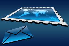 Stamp and envelope Royalty Free Stock Photography