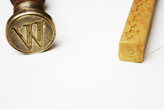 Stamp, envelope and wax Royalty Free Stock Images