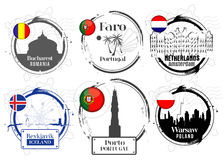Stamp of European cities Stock Photography