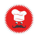 Stamp with face chef and hat Royalty Free Stock Image