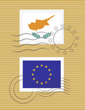 Stamp with flag of Cyprus Royalty Free Stock Photo