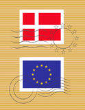 Stamp with flag of Denmark Royalty Free Stock Images