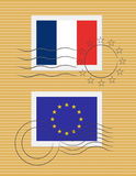Stamp with flag of France Stock Photography