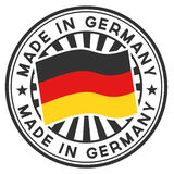 Stamp with flag of the Germany. Made in Germany. Stock Photography