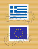 Stamp with flag of Greece Royalty Free Stock Photography