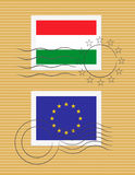 Stamp with flag of Hungary Royalty Free Stock Photos