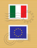 Stamp with flag of Italy Stock Photography