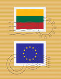 Stamp with flag of Lithuania  Royalty Free Stock Photo