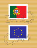 Stamp with flag of Portugal Royalty Free Stock Images