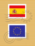 Stamp with flag of Spain Stock Photography