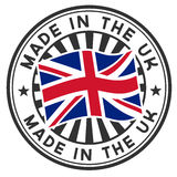 Stamp with flag of the UK. Made in the UK. Stock Photo