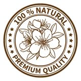 Stamp with the flower of peony. Stamp with the flower of cherry and the text 100% natural, premium quality Stock Photography