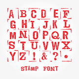 Stamp font sim 3. Hand made letterpressed font. Retro textured grunge alphabet with scratches. Vector latin alphabet. Vector isolated font on white. Imprint font stock illustration
