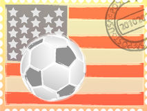 Stamp and football Royalty Free Stock Images