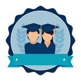 Stamp frame with couple people graduated and ribbon Royalty Free Stock Photography