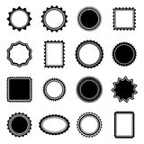 Stamp and Frame shapes. Set of 16 stamp and frame shapes  on transparent background.  Colors can be easily edited Royalty Free Stock Photo