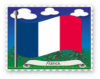 Stamp France. Stamp with flag from France- Vector Stock Photos
