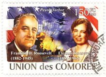 Stamp with Franklin Roosevelt stock image