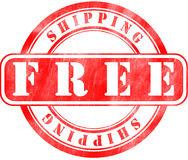 Stamp of Free shipping. Round, red Stock Photos