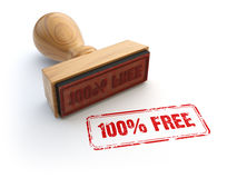 Stamp 100% free  on white. 3d illustration Stock Images