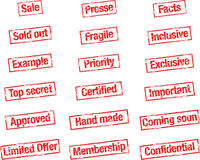 Stamp general. Selection of different general rubber stamps Stock Images