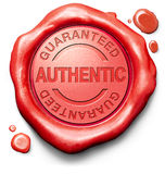 Stamp guaranteed authentic quality product. Guaranteed authentic stamp red wax seal quality label authenticity guarantee assurance label for highest product Royalty Free Stock Images