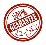 Stamp, Guarantree. Stamp, hundred procent guarantee red stamp with three stars Royalty Free Stock Photos
