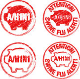 Stamp h1n1. Four round stamps of h1n1 virus Stock Photography