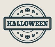 Stamp with Halloween text. And pumpkins icons Royalty Free Stock Photos