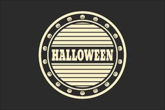 Stamp with Halloween text. And pumpkins. Round shape seal. Monochrome style Royalty Free Stock Photo