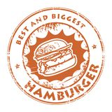 Stamp with hamburger Stock Photo