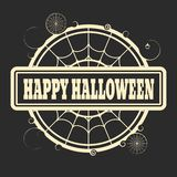 Stamp with Happy Halloween text. And spider net. Round shape Stock Photo