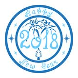 Stamp Happy New Year 2018. Holiday stamp for Happy New Year in blue color. Hand-drawn, creative design in retro style Stock Images