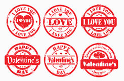 Stamp happy valentine's day and i love you. stock illustration