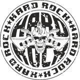 Stamp hard rock. Press hard rock with an inscription and skull with crossed guitars Stock Illustration