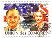 Stamp with Harry Truman and his wife Bess Stock Photo