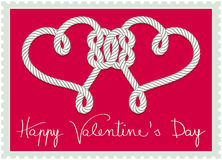 Stamp with hearts knotted rope Royalty Free Stock Image