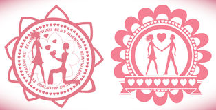 Stamp with hearts and lovers Royalty Free Stock Photo