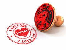 Stamp i love you on white isolated background. 3d royalty free stock photos